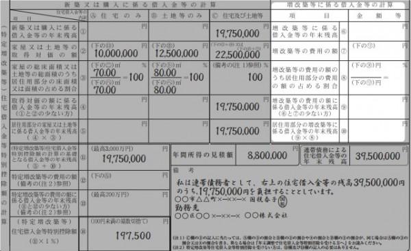 給与所得者の(特定増改築等)住宅借入金等特別控除申告書