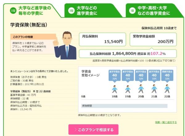 ソニー生命学資保険2