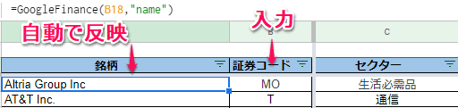 Googleスプレッドシート 日本株 米国株その3