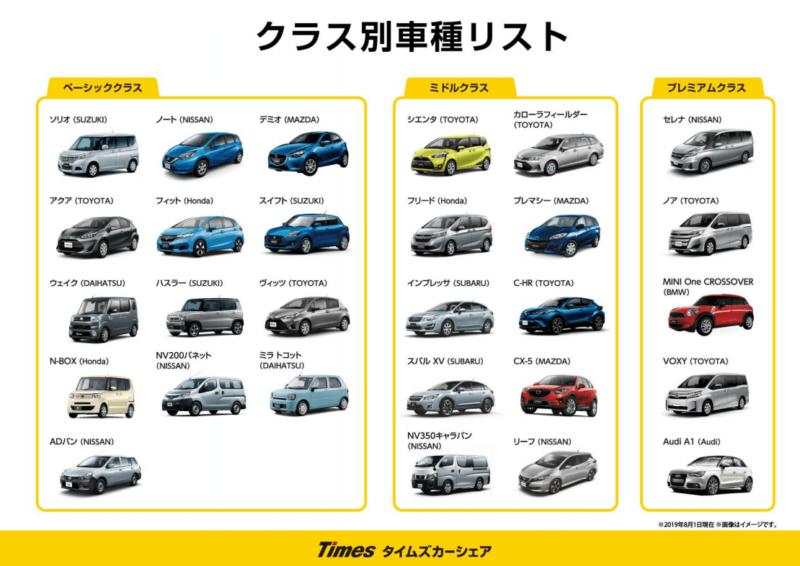 タイムズカー 車種クラス別リスト