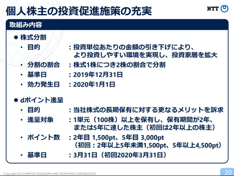 NTT 株主優待 株式分割 2019年度2Q決算説明資料より
