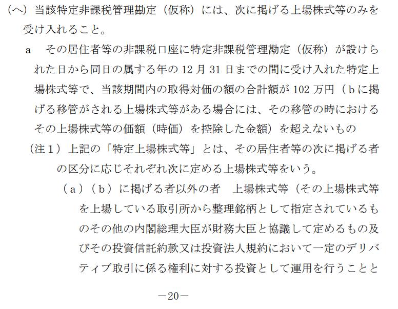 NISA 令和2年度自民党税制改正大綱要綱 2