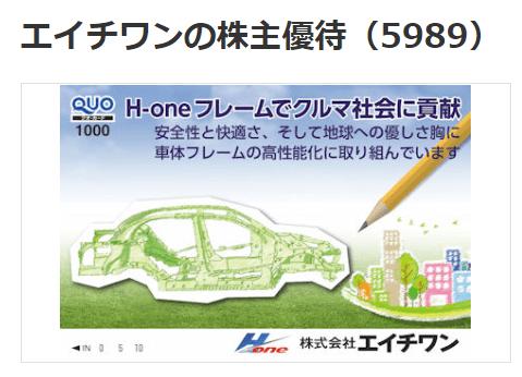 株主優待 クオカード 5989 エイチワン  マネックス証券より