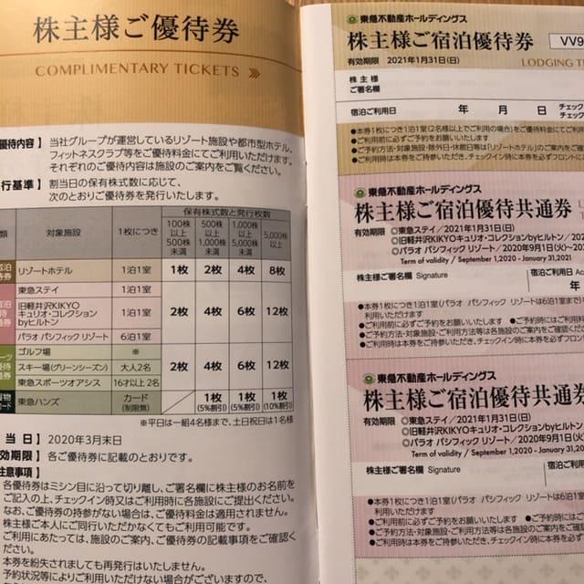 3289東急不動産HD株主優待2020