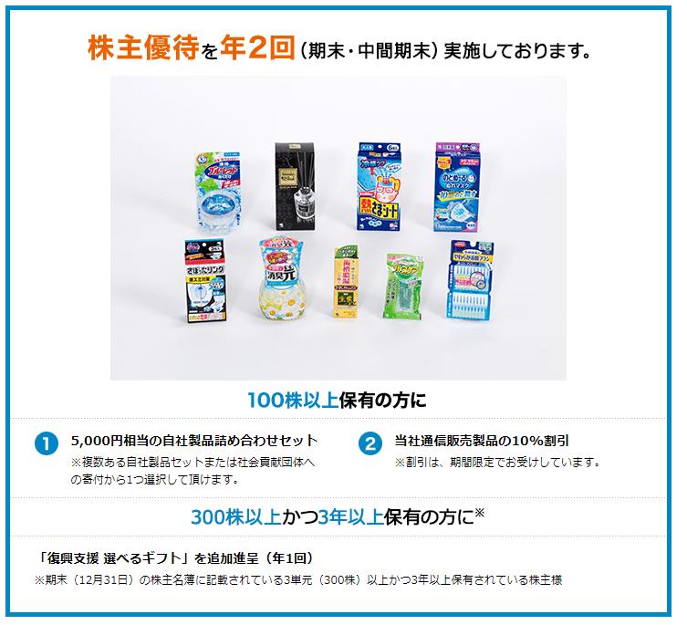 4967 小林製薬 株主優待