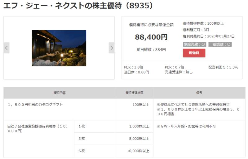 8935 エフ・ジェー・ネクスト 株主優待 マネックス証券より