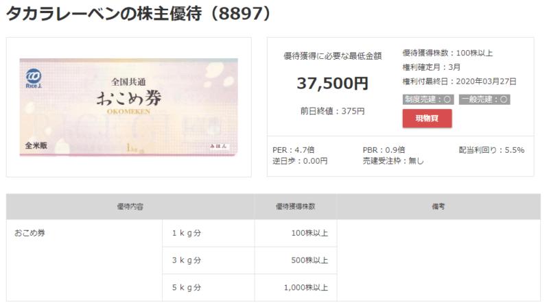 8897 タカラレーベン  株主優待 マネックス証券より