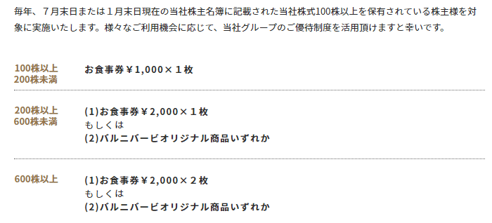 株主優待 バルニバービ