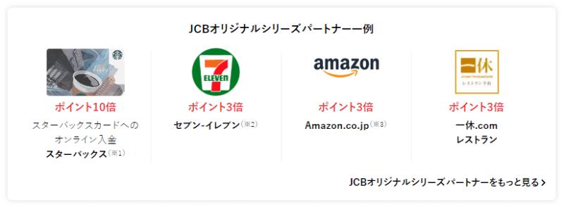 JCB カード 20%還元 オリジナルパートナーズ