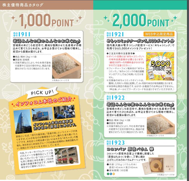 4348インフォコム 2019年株主優待カタログより