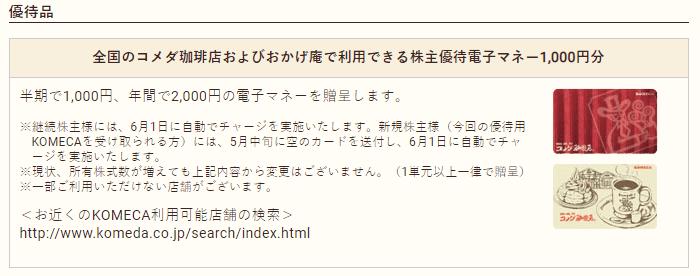 株主優待 コメダHD