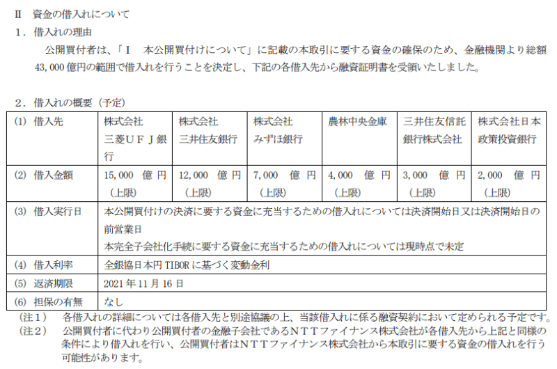NTTドコモ TOB資料 資金借入