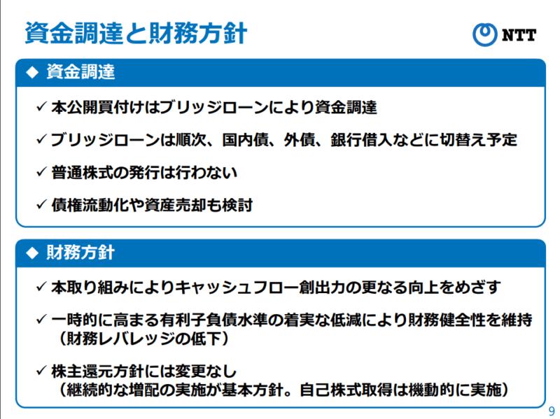 NTTドコモ 子会社化 財務 NTT資料より
