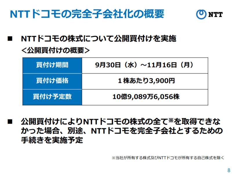 NTTドコモ 子会社化 NTT資料より