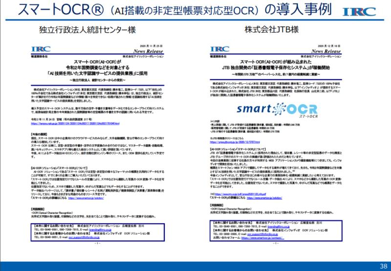 7325 アイリックコーポレーション OCR2 21年6月期2Q決算説明資料より